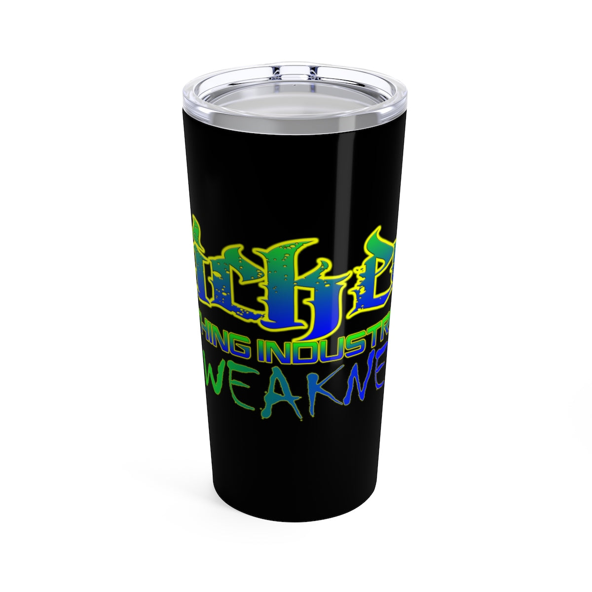 Tumbler 20oz NO WEAKNESS NEON GREEN AND ROYAL BLUE