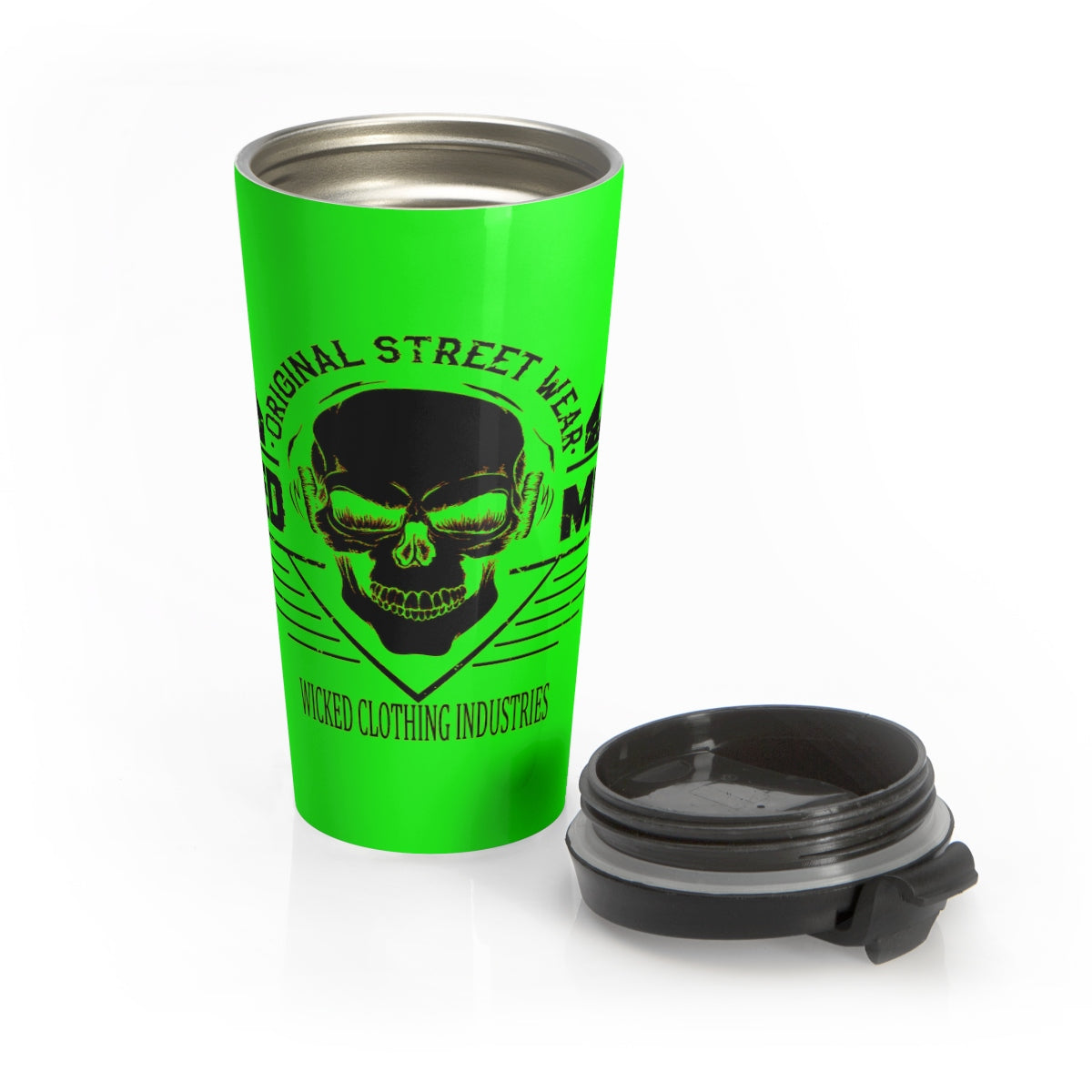 Neon Green/ Wicked Music /Stainless Steel Travel Mug