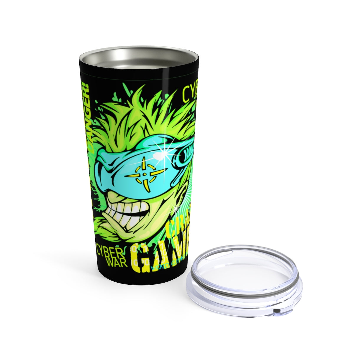Crazy Gamer / Neon Green/ Yellow Tumbler 20oz