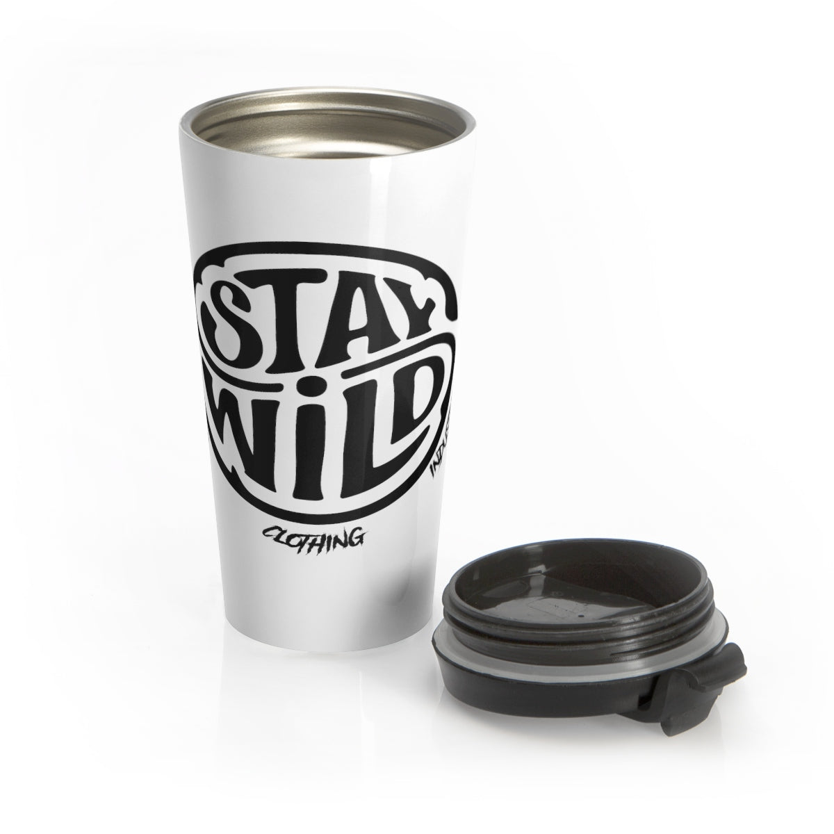 Stay Wild/White N Black/Stainless Steel Travel Mug