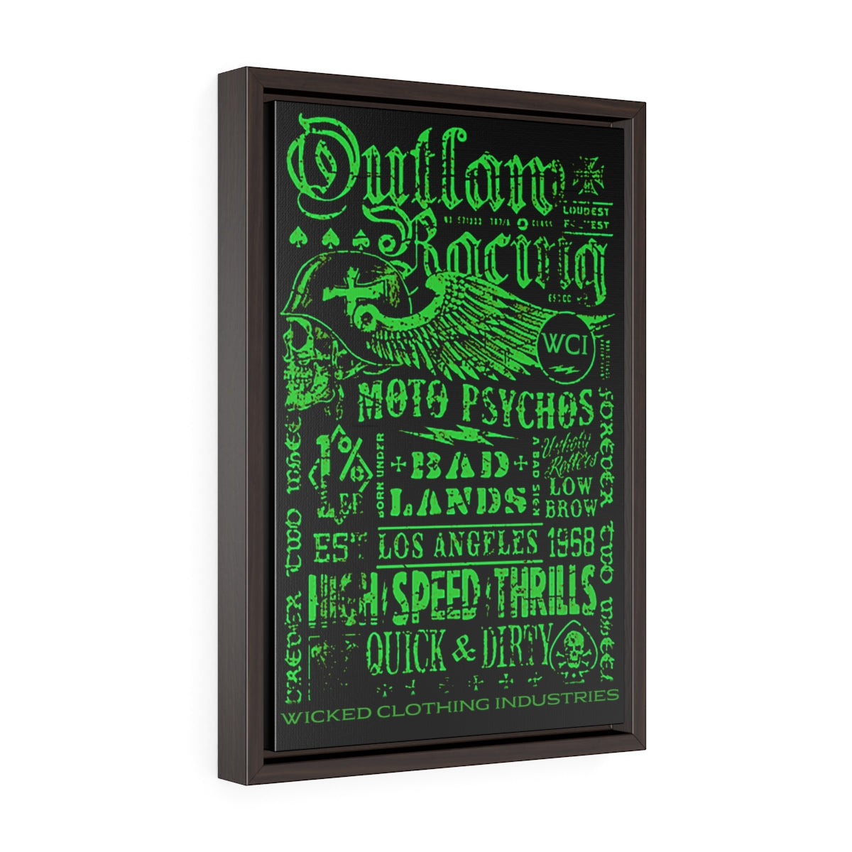 Outlaw Racing/Vertical Framed  Wrap Canvas