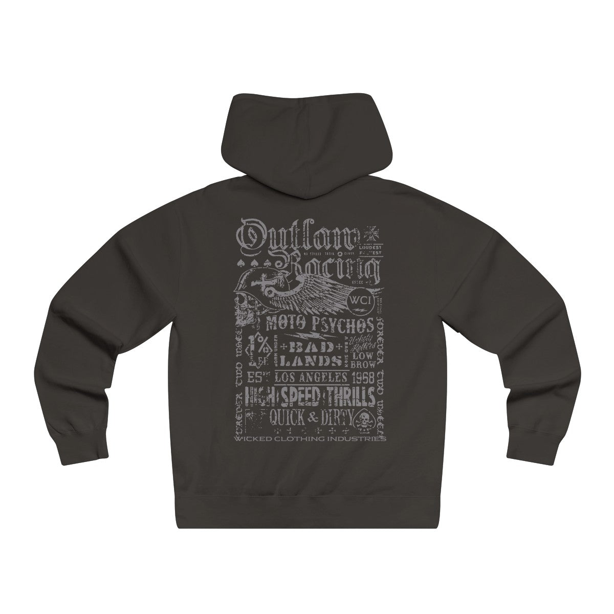 Outlaw Racing/Grey/Men's Lightweight Pullover Hooded Sweatshirt