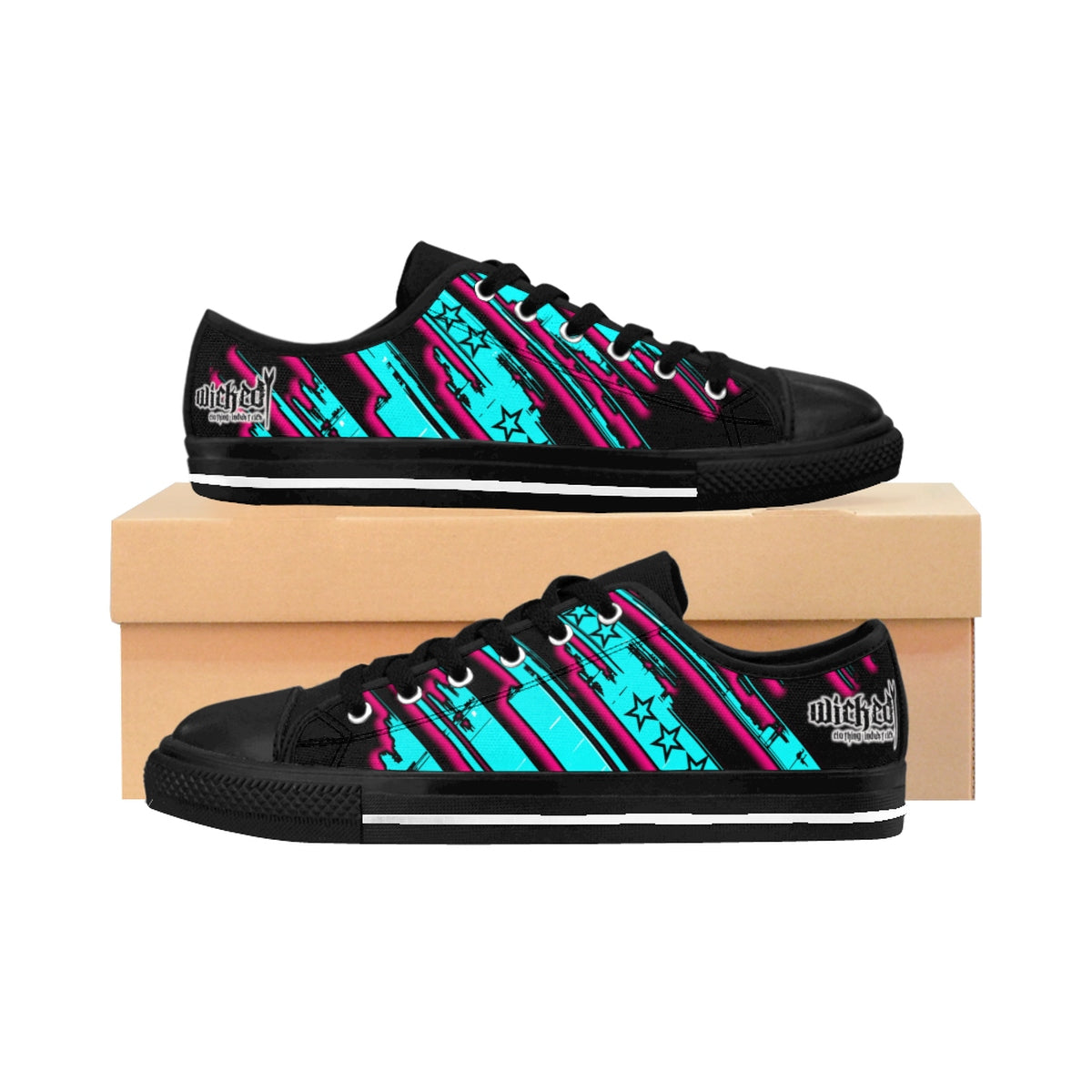 The Edge of Insanity / Teal/ Pink Black/ Women's Sneakers