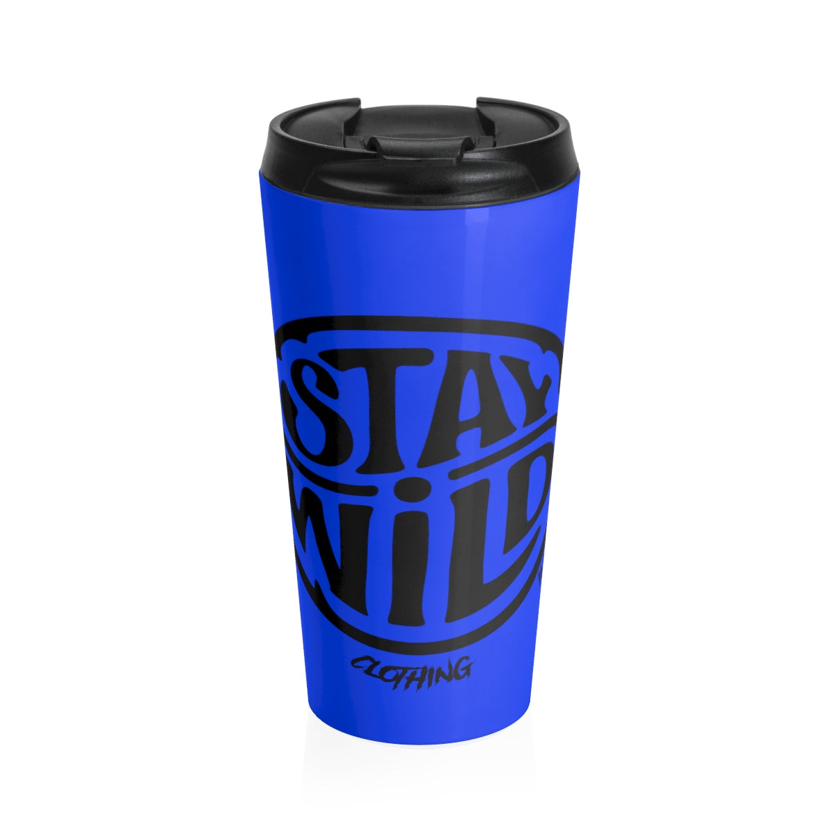 Stay Wild Black N Blue/Stainless Steel Travel Mug