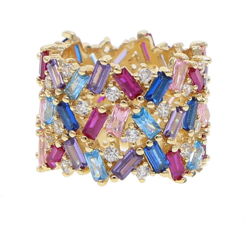 STACIE RAINBOW BAGUETTE RING