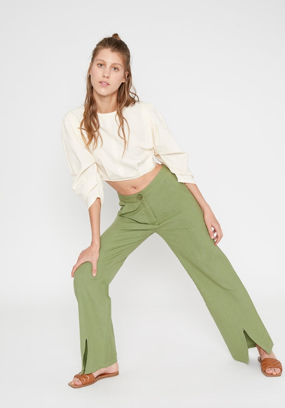 GREEN MID-RISE STRAIGHT-LEG FRONT SPLIT-HEM TROUSERS