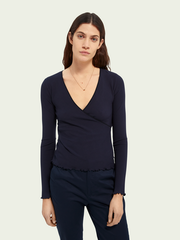 RIB JERSEY WRAP OVER TOP
