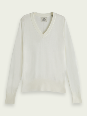 LIGHTWEIGHT KNIT WITH FITTED WAIST AND V-NECK (WHITE)