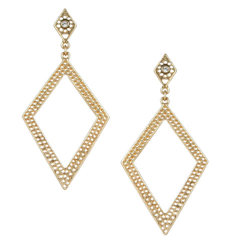 Gold Open Diamond Shaped Earring