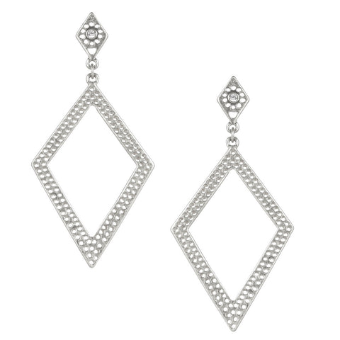 Silver Open Diamond Shape Earring