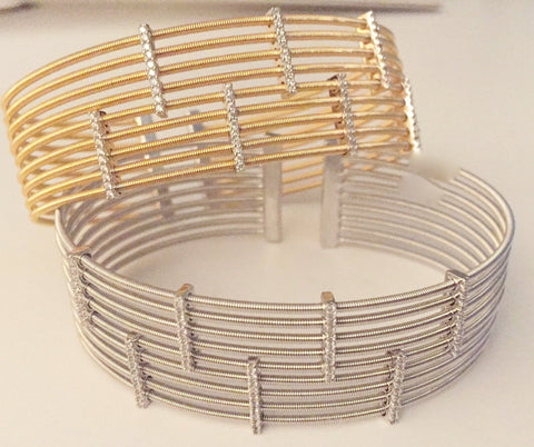 Wide Two Tone Cuff Inspired By Marco Bicego