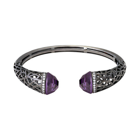 Oxidized Bangle with CZ Crystals
