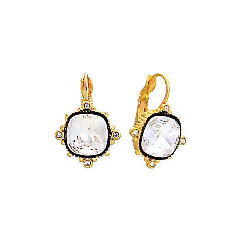 Gold & Black Earring with Clear Crystal
