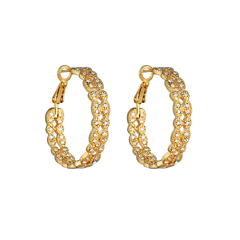 Gold Double Row Antique Style Hoops