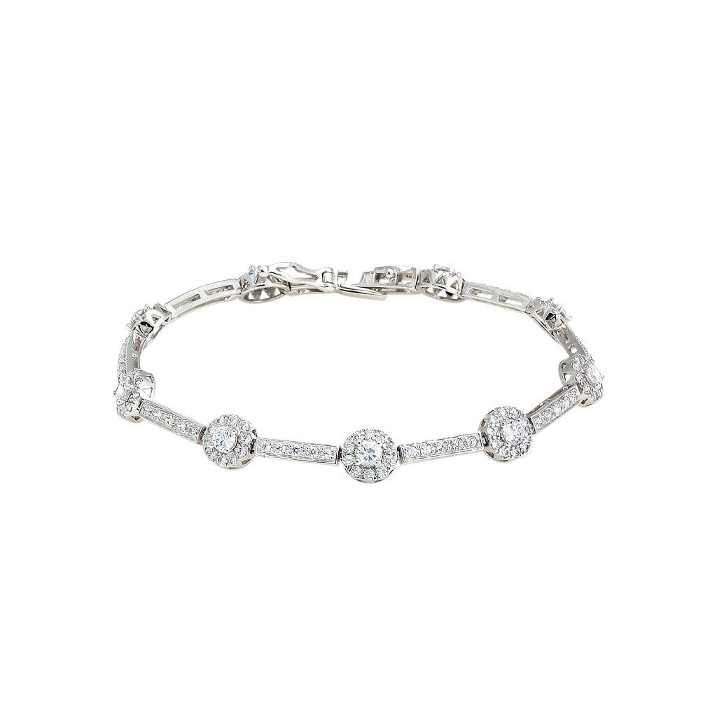 Tennis Bracelet with Round Pavé Detail