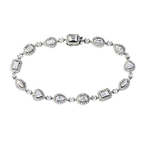 Silver Tennis Bracelet With Solitare Shaped Crystals