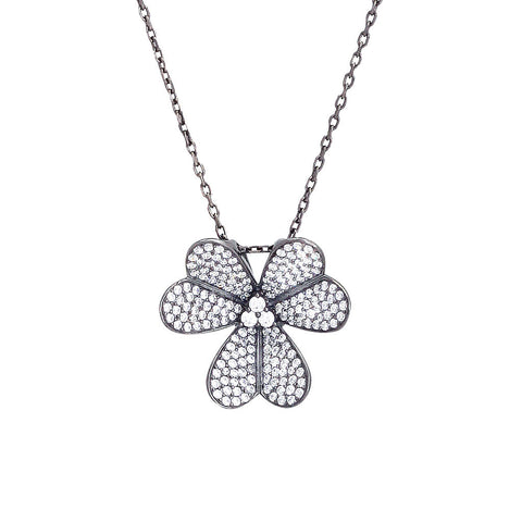 Gunmetal Micro Pave Clover Necklace