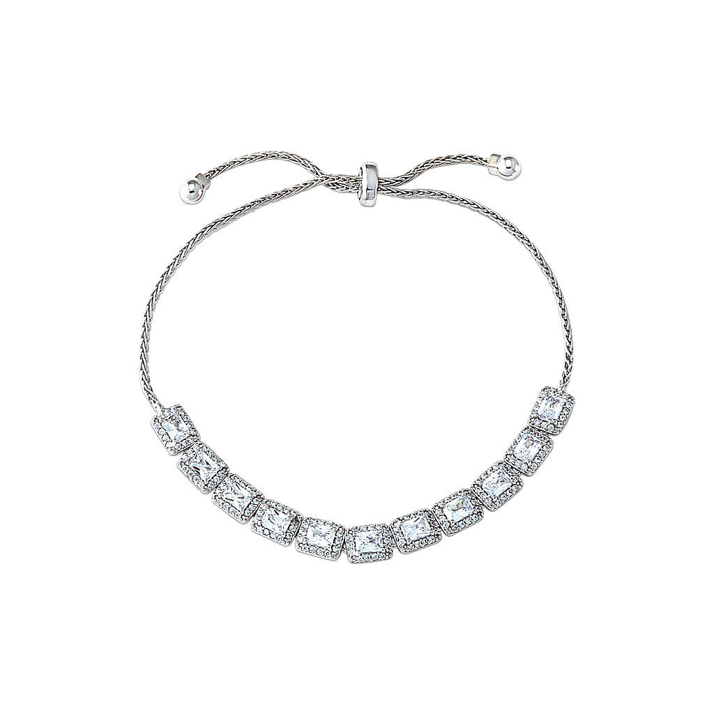 Silver Square Adjustable Tennis Bracelet