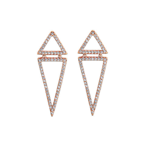 Double Triangle Gold Earrings