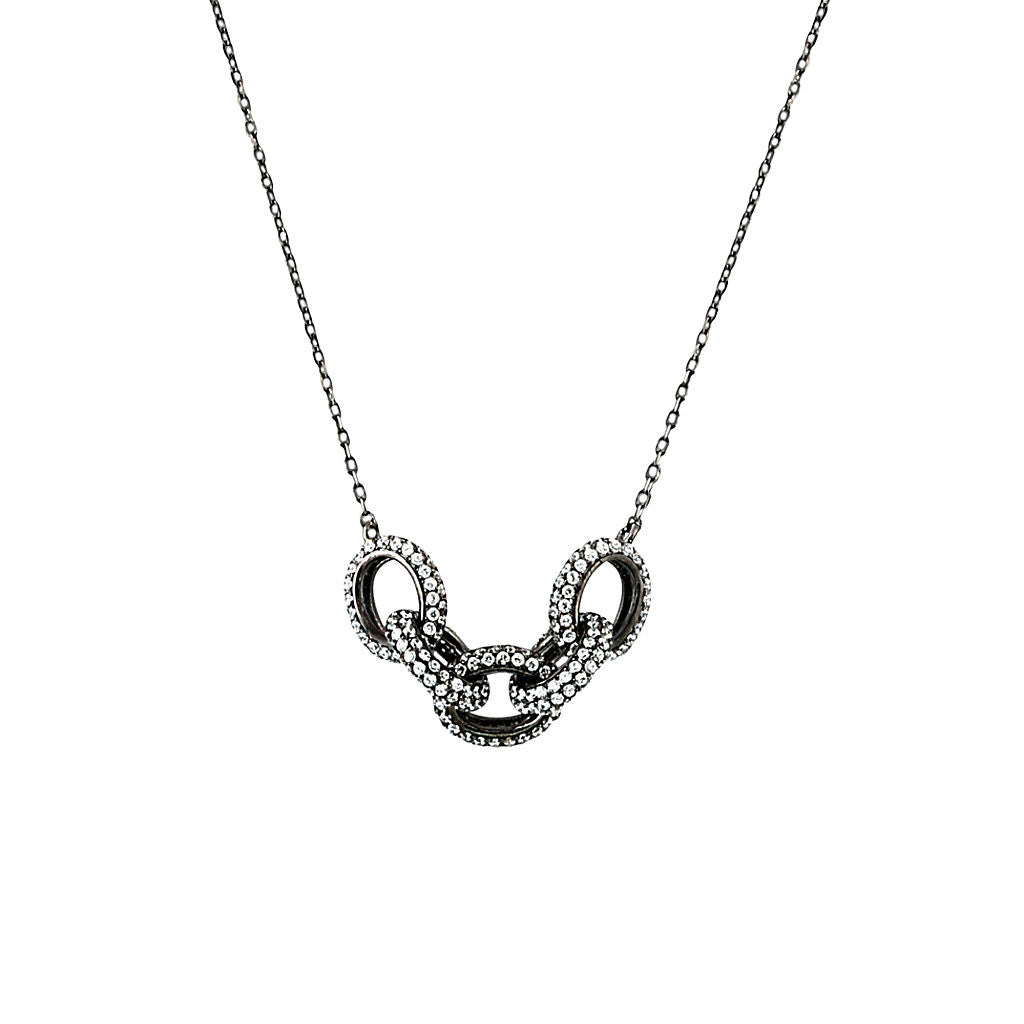 Black Rhodium Pave Link Necklace