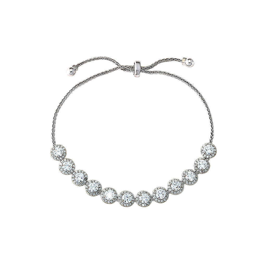 Silver Round Adjustable Tennis Bracelet