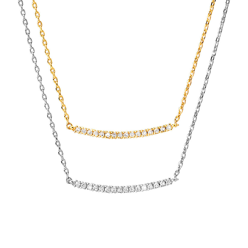 """Must Have"" Curved Pave Bar Necklace"
