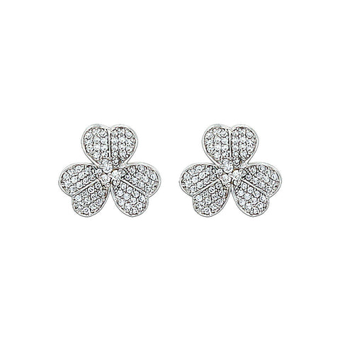 Silver Micro Pave Clover Studs