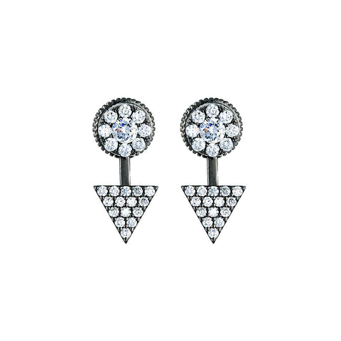 Gunmetal Pave Jacket Earring