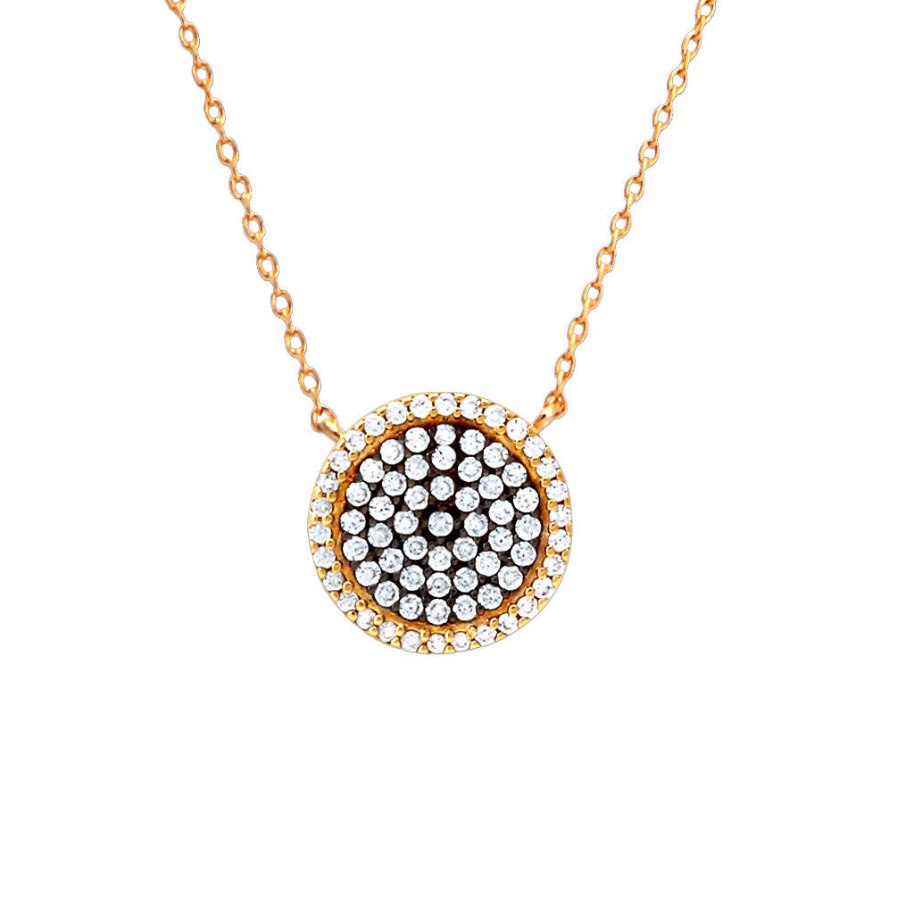 Two-Tone Disc Pendant Necklace
