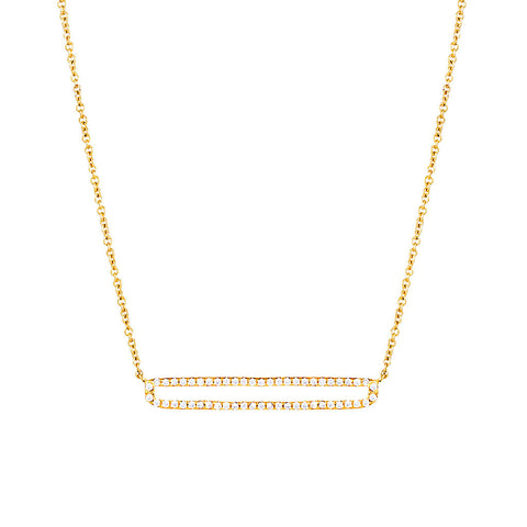 Silver Open Bar Pave Necklace