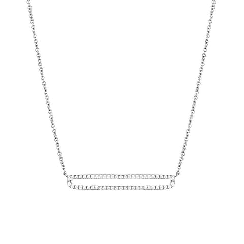 Gold Open Bar Pave Necklace