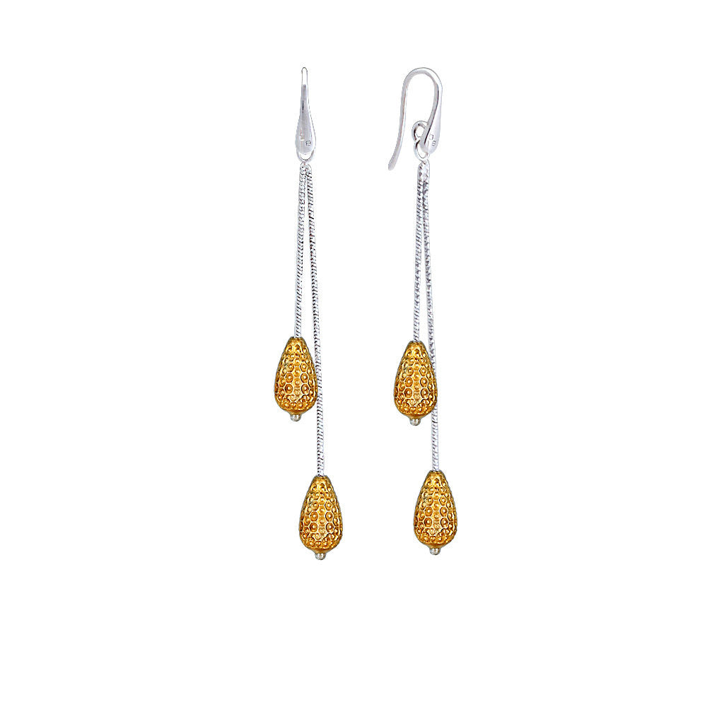 Officina Bernardi Gold Double Pear Drop Earring
