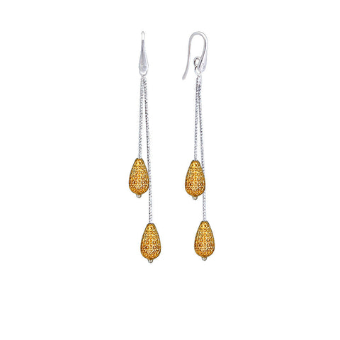 Silver Double Pear Drop Earring