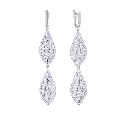 Silver Double Teardrop Chandelier Earring