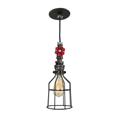 Industrial Single Pendant Light with cage