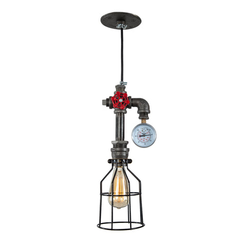 Industrial Pendant Light with Gauge
