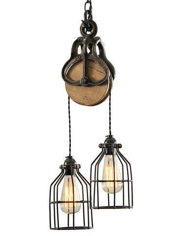 Industrial Wood and Steel Barn Pendant