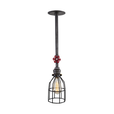 Industrial Long Ceiling Light with Red Handle