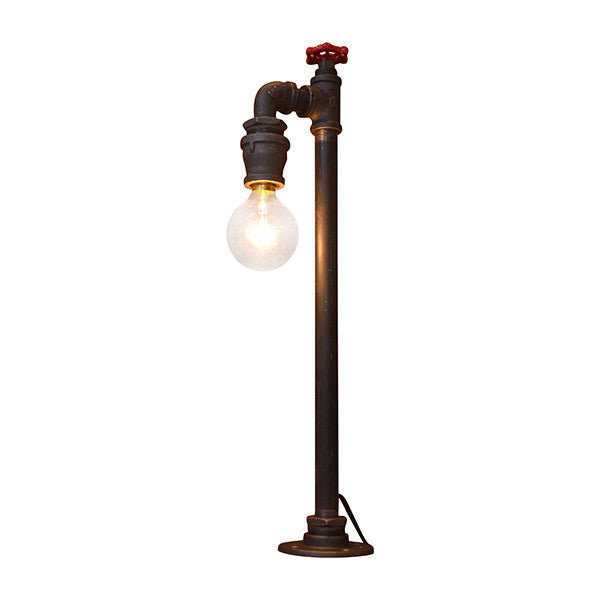 Industrial Table Lamp with Red Handle