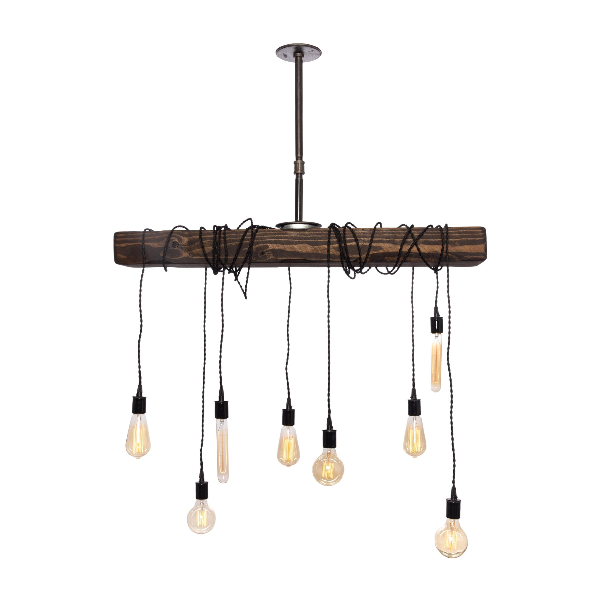 "Pendant Wood Beam Chandelier | 46"" beam"