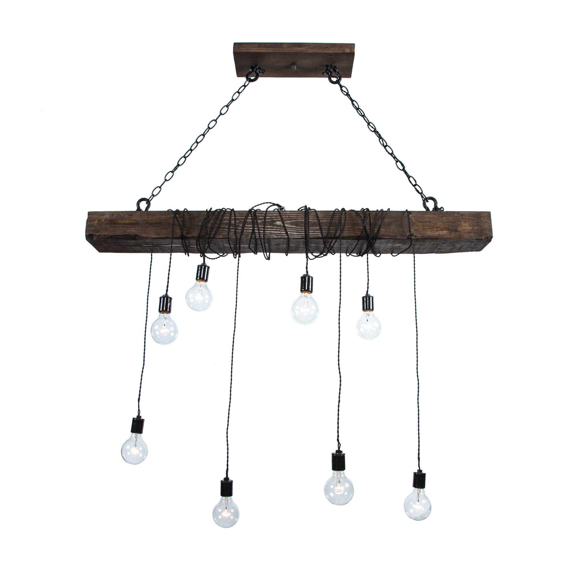 Pendant Wood Beam Chandelier with Chains