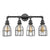 Quadruple Vanity Light | Black Cages