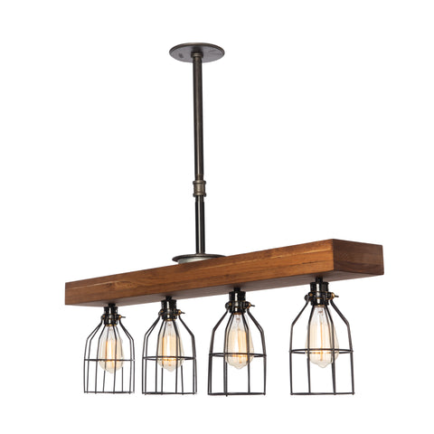 Fayette Triple Wood Light with cages | Medium