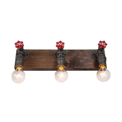 Wood and Steel Vanity Light with Red Spigots