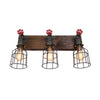 Wood and Steel Vanity Light with Red Spigots with cages