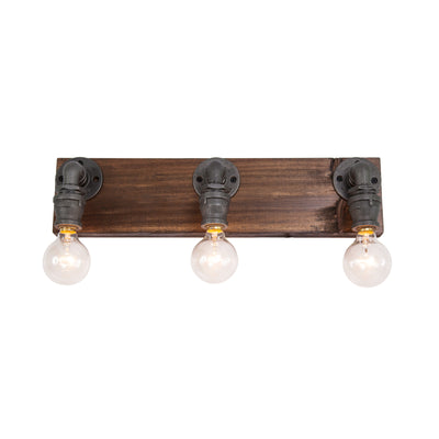 Wood and Steel Vanity Light