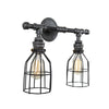Steel Vanity Light Double with Black Cages