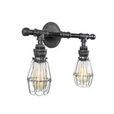 Steel Vanity Light Double with Wire Cages