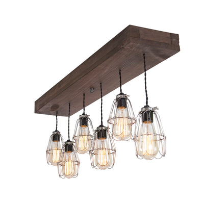 Wood Pendant Light | Nickel Cages