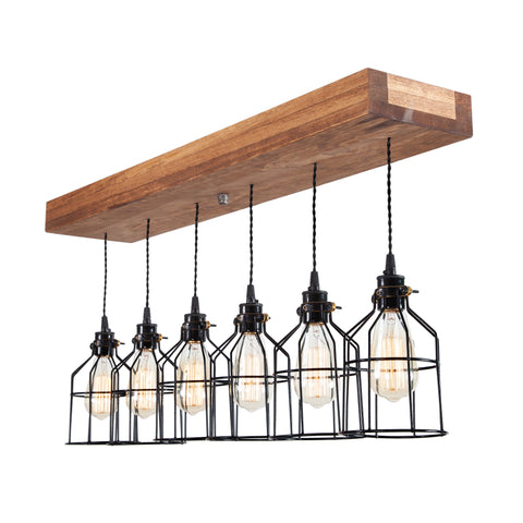 Wood Pendant Light with cages | Medium